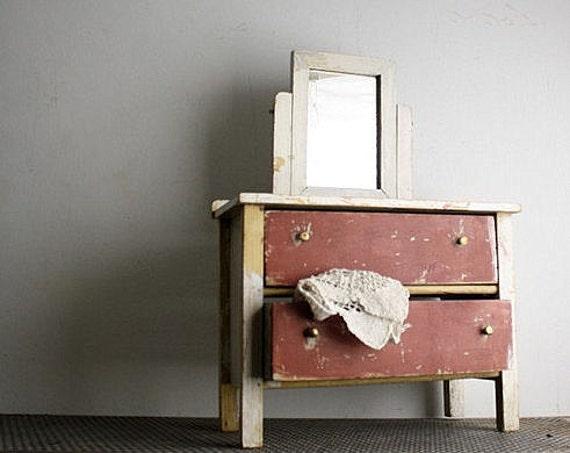 RESERVED FOR ANNA Vintage Handmade Doll Dresser Bureau