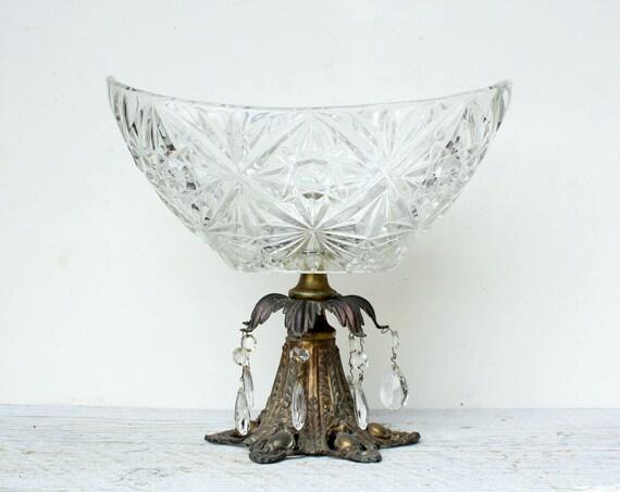 Vintage Pressed Glass and Brass Pedestal Bowl