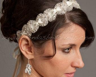 Crystal Rhinestone Headband with Smocked Satin Ribbon, Bridal Headband - Lexi