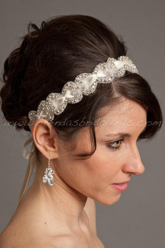 Crystal Rhinestone Headband With Smocked Satin Ribbon Bridal