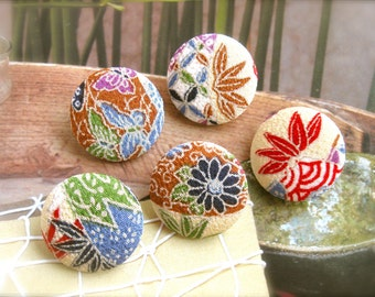 Fabric Buttons, Fridge Magnets, Flower Magnets, Covered Buttons, Japanese Buttons, Floral Buttons, Flat Backs, Retronana, 1.2 Inches 5's