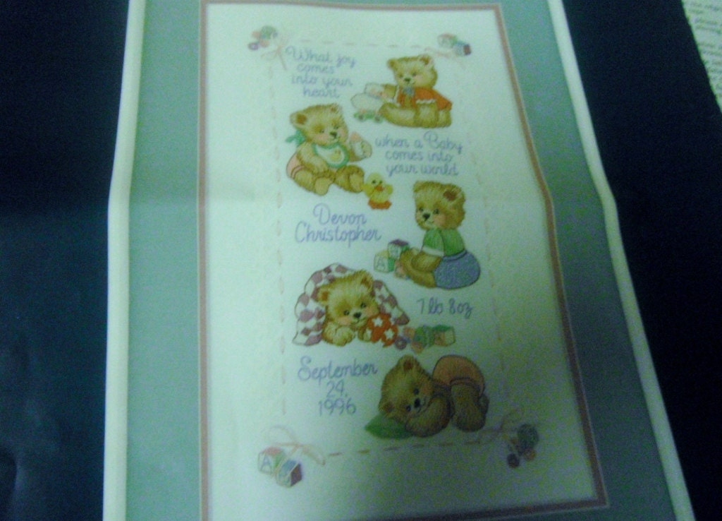 Crewel embroidery sampler baby bear birth record sunset