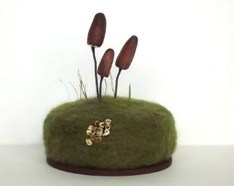 Pin Cushion Mushrooms Lichen Moss Nature Mycology Mom Gift Home Decor Crafty Mom Gift Pincushion Made To Order
