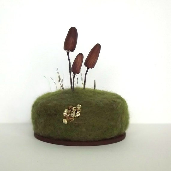 Brown Mushrooms Lichen Moss and Grasses Nature Mycology Home Decor Pincushion Made To Order