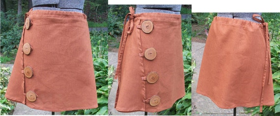 Cinnamon hemp&apple button side skirt