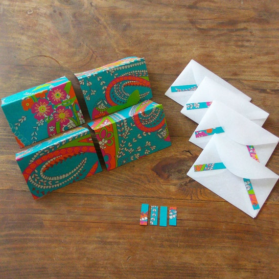 4 turquoise pink orange floral notecards w/vellum envelopes