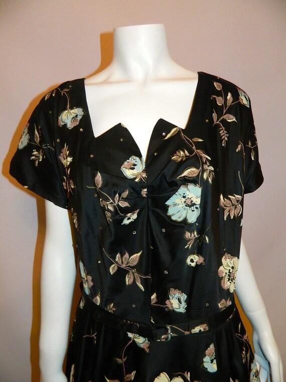 Hold for Adelina SALE vintage 1950s dress black PAINTED flower print Full Skirt XL