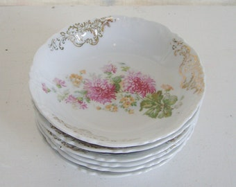 Vintage pink floral berry bowls set of 6 berry bowls pink floral bowls antique china pink floral china pink mums bowls