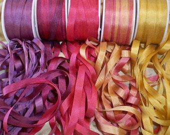 25 yard 4mm Autumn silk ribbon assortment