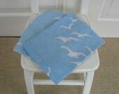 RESERVED......Pair Vintage Dishtowels Linen Birds Blue Beach Cottage Kitchen