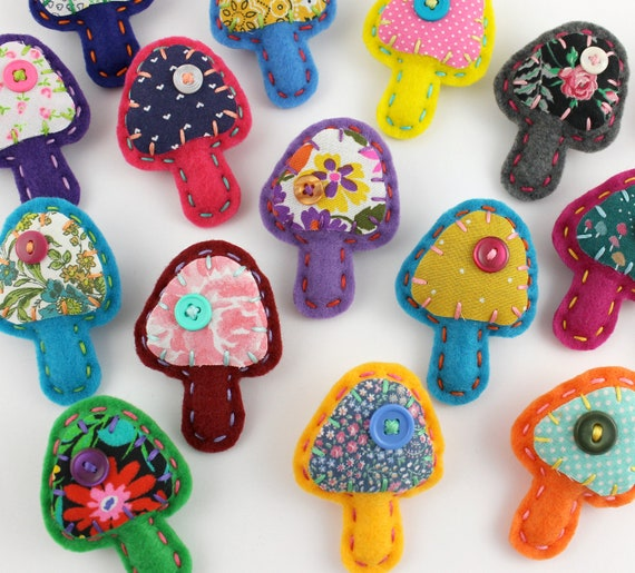 Felt Mushroom Pins Brooches Wholesale Lot of 8 Party Favors Spring Embroidery