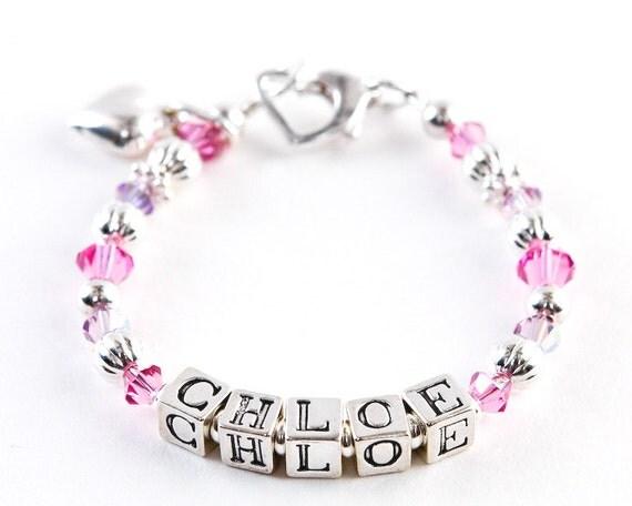 Infant Jewelry SWAROVSKI Baby bracelet Baptism flower girl   Personalized Baby Jewelry For Girls