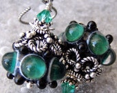 Emerald Goddess- Goddess Collection- Artisan Lampwork And Sterling Earrings- Cynensemble