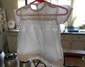Vintage White Sheer Linen Baby Girls Dress 0-3 months