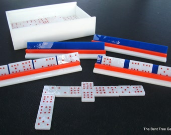 Handmade Dominoes of White Acrylic Double 9 with Red White and Blue Trays SALE  Was 70.00