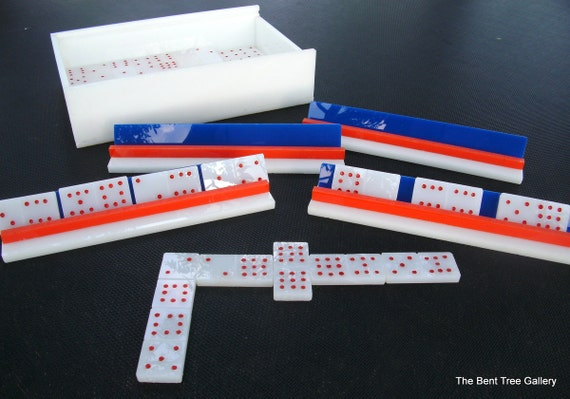 Handmade Dominoes of White Acrylic Double 9 with Red White and Blue Trays