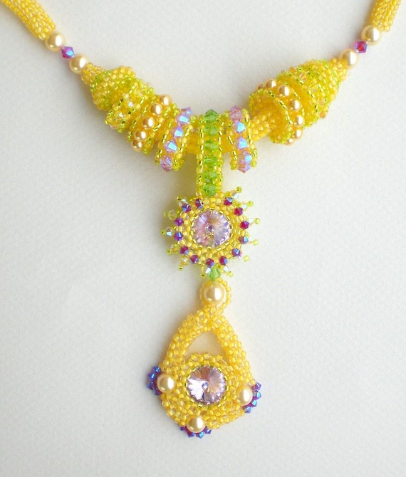 rivoli beadwoven necklace yellow purple unique beaded