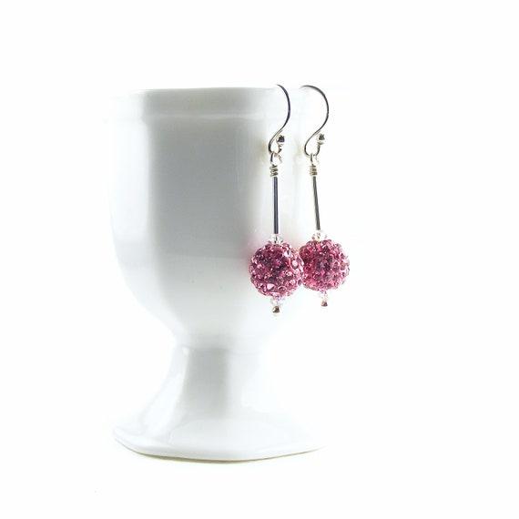 Disco Ball Earrings, Rose Pink Sterling Silver Dangle Earrings, Handmade Swarovski Crystal Jewelry, Celebrity Style Jewelry
