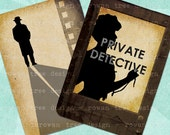 Digital Collage Sheet FILM NOIR SILHOUETTES 2.5x3.5in Printable Download - no. 0115