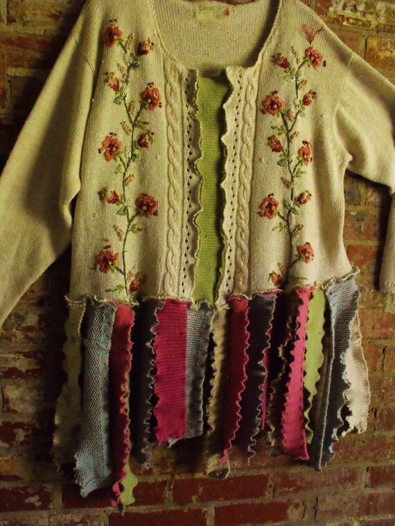 Plus Size Razzle Dazzle, Sweater Patched, Multi Color, Embroidered, Recycled, Upcycled Sweater Scrap Tunic