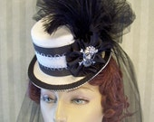 Mini Top Hat Steampunk Hat Halloween Hat Derby Hat Lolita Hat Neo Victorian Hat CHANGE the JEWEL to match your EVENT