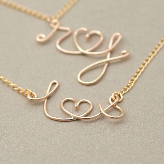 gold monogram necklace. personalized jewelry. gold initials and heart. two personalized initials. love letter. gold filled wire NECKLACE.
