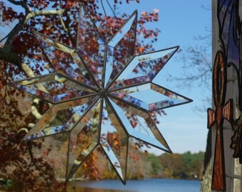 Beveled 12 inch Star Amazing Light Catcher Sun Catcher Rainbow Maker Snowflake