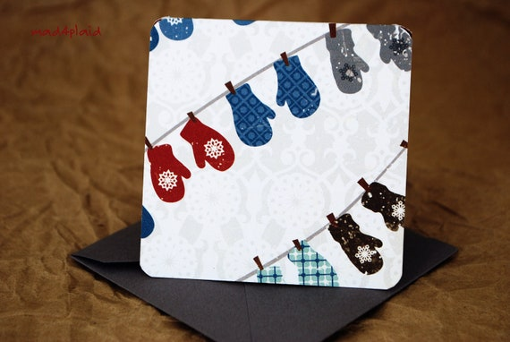 Blank Mini Card Set of 10, Holiday Mittens on the Line, Contrasting Pattern on the Inside, Gray Envelopes, mad4plaid on Etsy