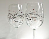Winter berry II. Hand Painted Wine Glasses (set of 2).