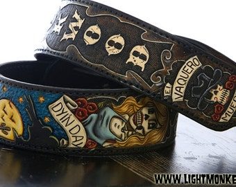 Custom Fully-Tooled Leather Guitar Strap