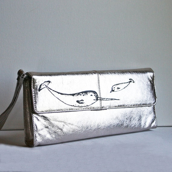 Narwhal Leather Clutch-Hand Painted Upcycled Bag-Baby Narwhal- Black and Silver-Back to School- OOAK
