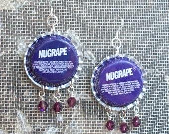 Vintage Nugrape Soda Bottle Cap Earrings