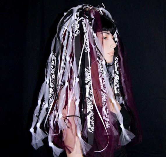 UV Gothic Burgundy Damask Knotty Raver Clubbing Veil Hair Falls MTCoffinz --- Ready to Ship