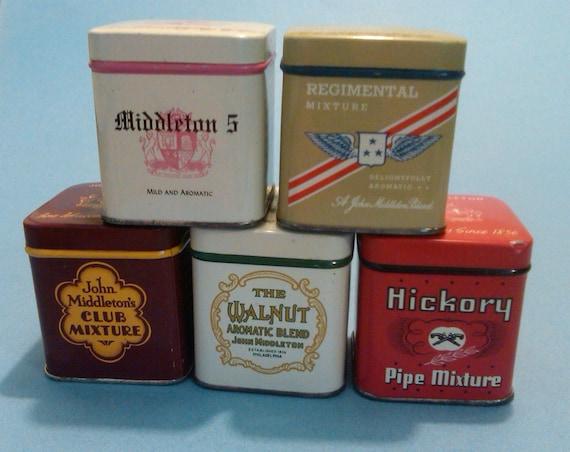 Tobacco John Middleton Tins Vintage Set of Five
