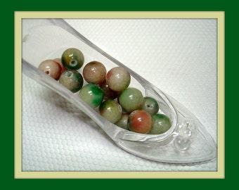 Green Maroon Mix Round Stone Beads (Qty 16) - B1271