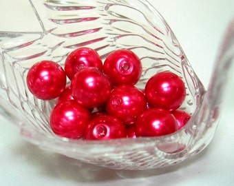 Hot Pink Glass Pearl Round Beads (Qty 15) - B1485