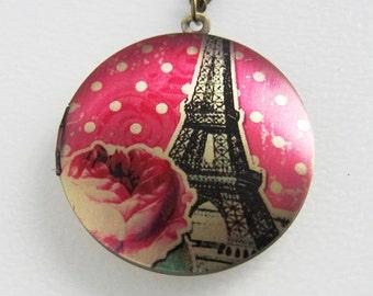 Eiffel Tower Pink Rose Locket Necklace - Paris France Brass Photo Locket  (R3B-B2)