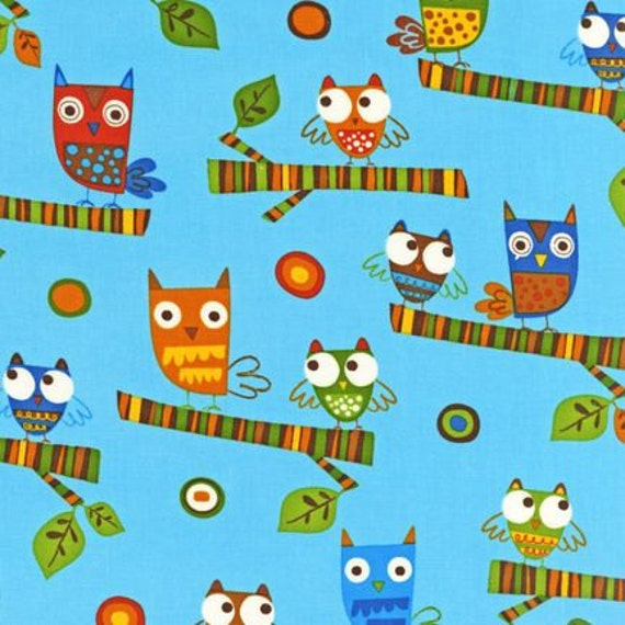 Earth Mini Owls from On a Whim 2 by Amy Schimler for Robert Kaufman Fabrics 1 yard (.91m)