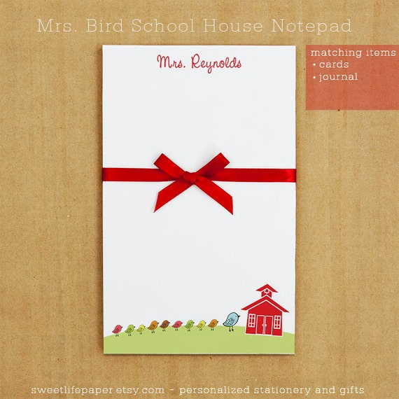Personalized Mrs. Bird Teacher School House Notepad Stationery - 50 sheets