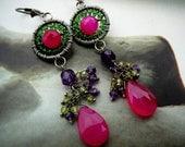 Mumtaz - wire wrapped sterling silver and gemstone chandelier earrings