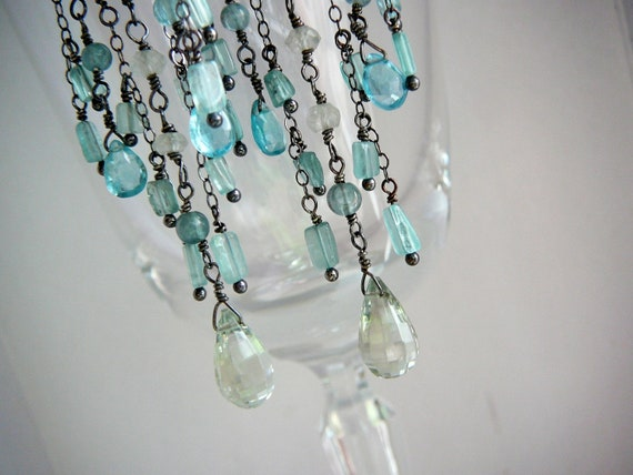 RESERVED - Installment 1 - Shallow waters wire wrapped chandelier earrings - sterling silver, green amethyst and apatite