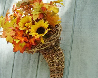 Cornucopia, Rustic,Wicker , Handmade, Wedding or Holiday Decor -Ready To Ship, Basket, Wisteria, WC
