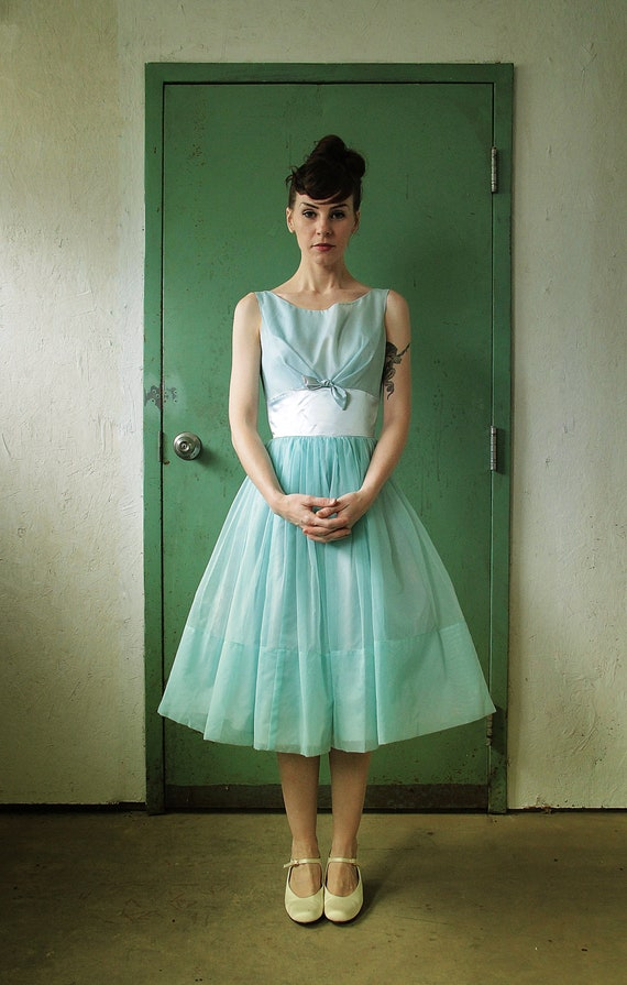 1950s Two Piece . Dress Top . Baby Blue . Party . Mid Century Ball Gown
