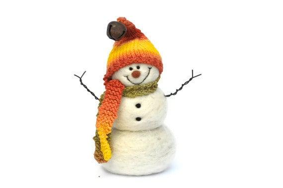 Needle Felted Snowman -  Wool Snowmen - Christmas 108