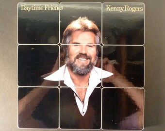 Kenny Rogers upcycled Daytime Friends album cover wood coasters with record bowl