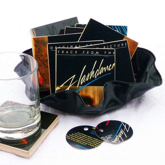 FLASHDANCE Authentic Album Coasters with Record Bowl