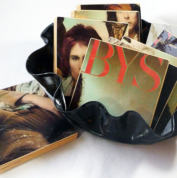 The Babys recycled Broken Heart album cover coasters with record basket