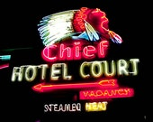 Fine Art Photography 8x10 - Photograph Photo - Las Vegas Vintage Roadside Neon Sign - Chief Indian Hotel