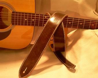 "Deep Brown Genuine Leather 2"" Guitar Strap"