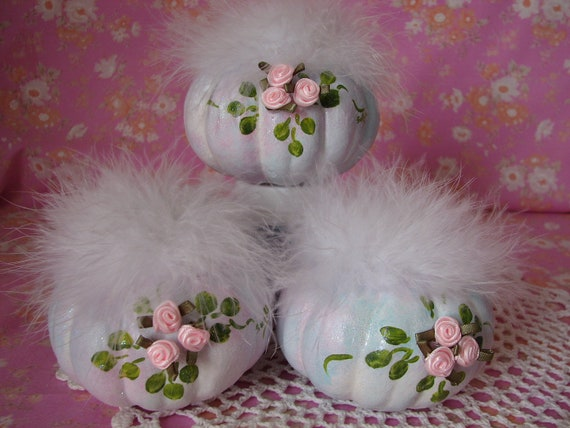 Thanksgiving Pumpkin 3 Small Autumn Cottage Chic Pink Roses Hand Painted,  Glitter